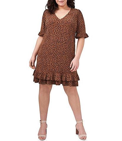 CeCe Plus Size V-Neck Ruffled Short Sleeve Leopard Print Knit Dress