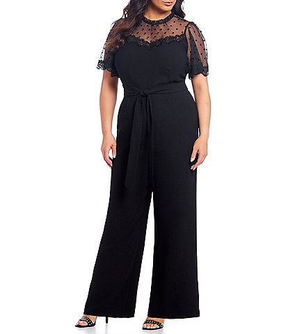 Cece Plus Size Short Sleeve Belted Polka Dot Mesh Yoke Jumpsuit