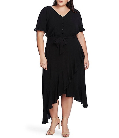 CeCe Plus Size Short Sleeve Ruffled Midi Dress