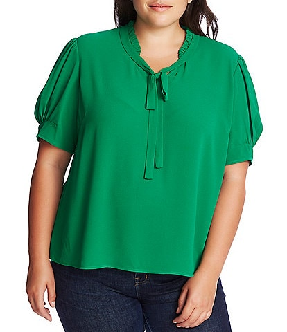 CeCe Plus Size Short Sleeve Ruffled Tie Neck Blouse