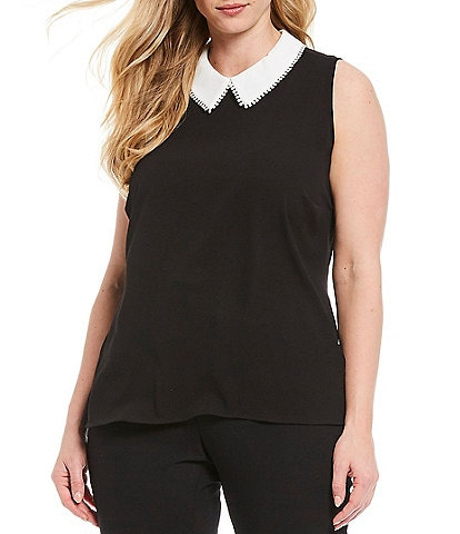CeCe Plus Size Sleeveless Contrast Peter Pan Collar Blouse