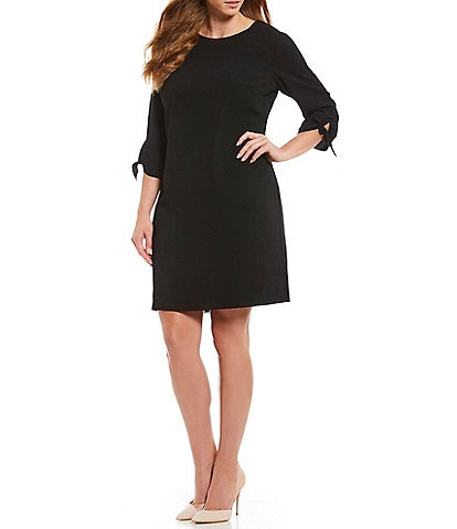 CeCe Plus Size Round Neck Tie Sleeve Shift Dress