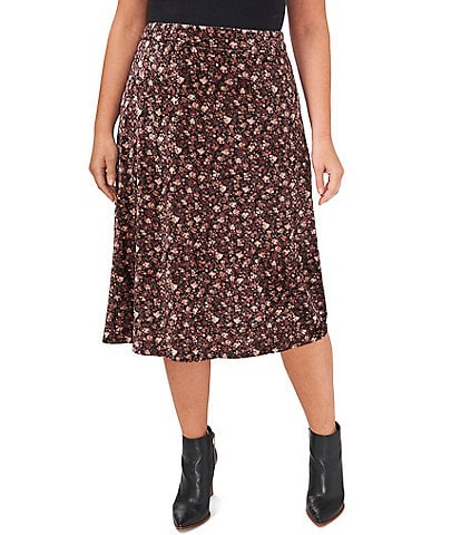 CeCe Plus Size Velvet Coordinating Floral High Waisted Pull-On Midi Skirt