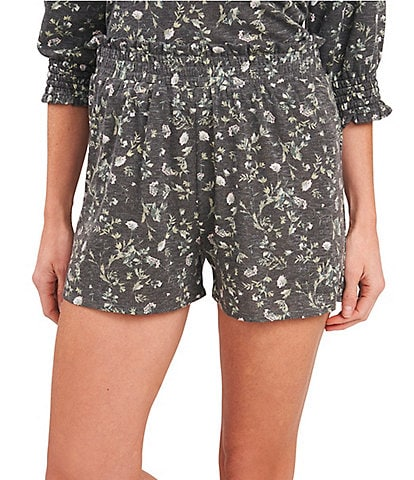 Cece Printed Wildflower Smocked Pull-On Shorts
