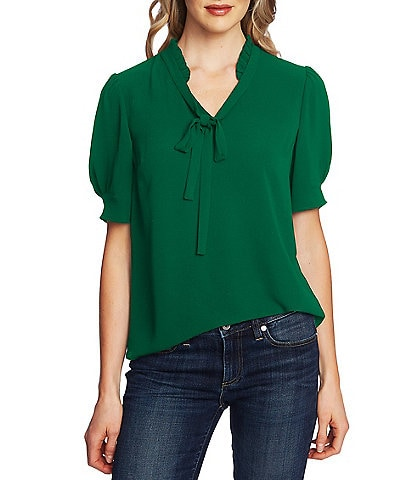 CeCe Puff Sleeve Ruffled Tie V-Neck Blouse