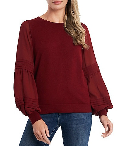 CeCe Puffed Long Sleeve Mixed Media Crew Neck Cotton Knit Top
