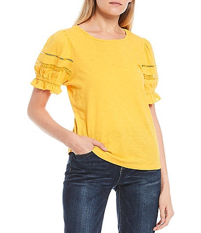CeCe Puffed Sleeve Lace Trim Knit Cotton Blend Top