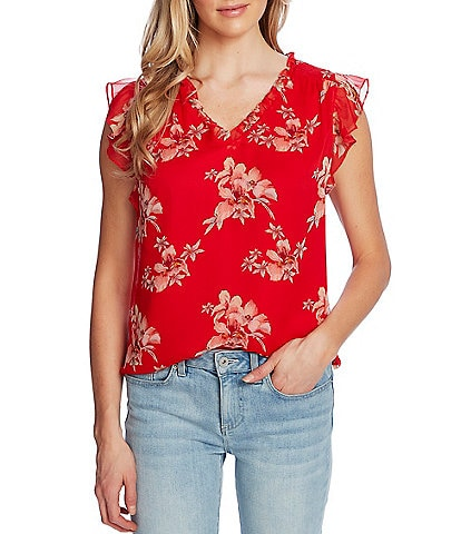 CeCe Ruffle Cap Sleeve V-Neck Floral Print Blouse