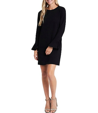CeCe Ruffled Long Sleeve Ponte Shift Dress