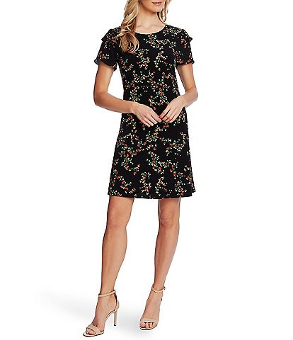 CeCe Ruffled Short Sleeve Floral Knit Shift Dress