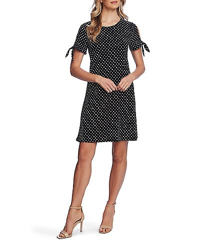 CeCe Short Cold Shoulder Tie Sleeve Polka Dot Knit Dress