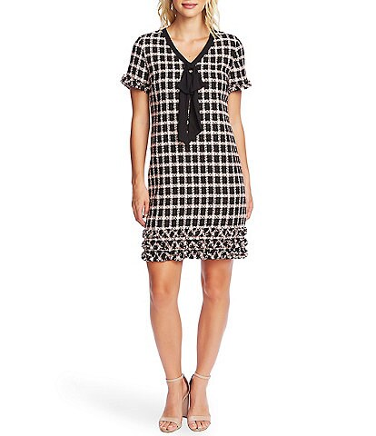 CeCe Short Sleeve Bow Detail Plaid Tweed Sheath Dress