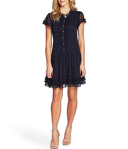 CeCe Short Sleeve Drop Waist Ruffled Hem Dress