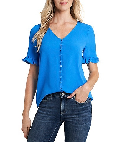 CeCe Short Sleeve Ruffled Button Down Blouse
