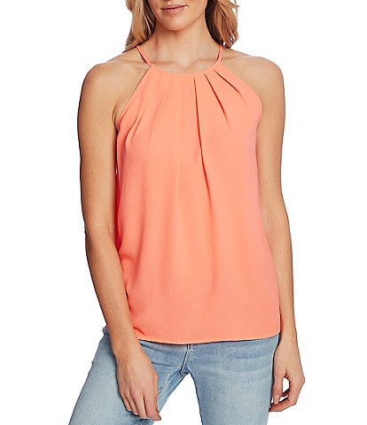 CeCe Sleeveless Pleated Halter Top