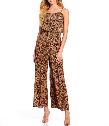 CeCe Sleeveless Ruffled Leopard Print Wide Leg Jumpsuit