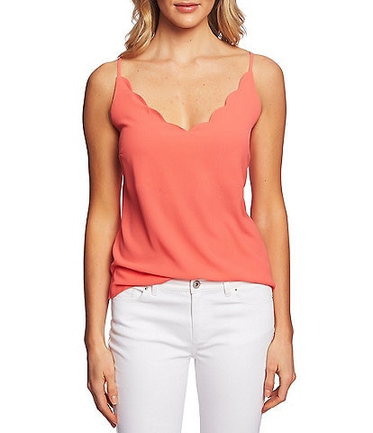 CeCe Sleeveless Scalloped V-Neck Cami