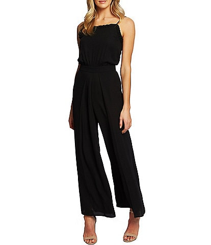 CeCe Sleeveless Square Neck Ruffled Wide Leg Jumpsuit