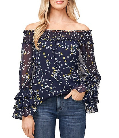 CeCe Smocked Off-The-Shoulder Long Ruffle Sleeve Scattered Floral Blouse