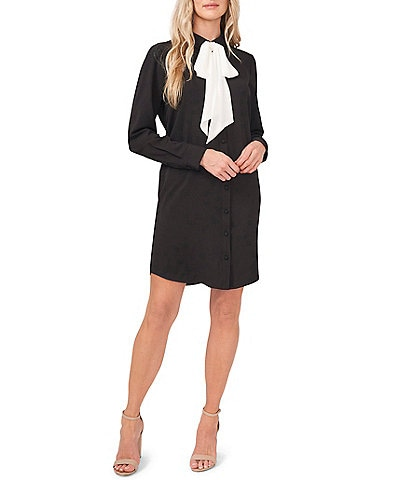 CeCe Suede Bow Mixed Media Tie Mock Neck Long Sleeve Shirt Dress