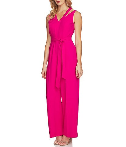 CeCe Tie Waist Shoulder Cutout Jumpsuit