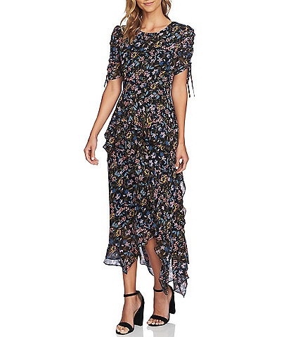 CeCe Tiered Ruched Sleeve Ruffle Midi Dress