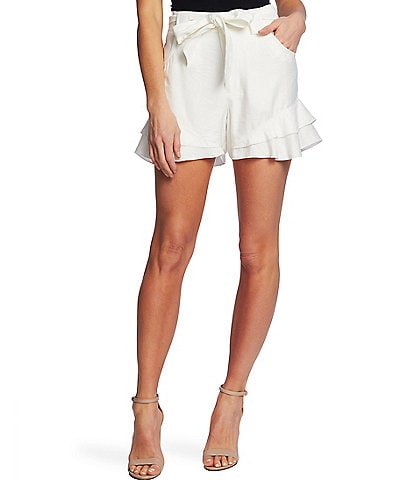 CeCe Tiered Ruffle Belted High Rise Shorts