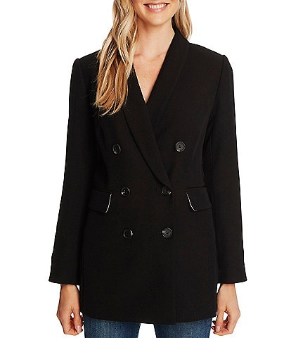 CeCe Twill Double Breasted Long Sleeve Blazer