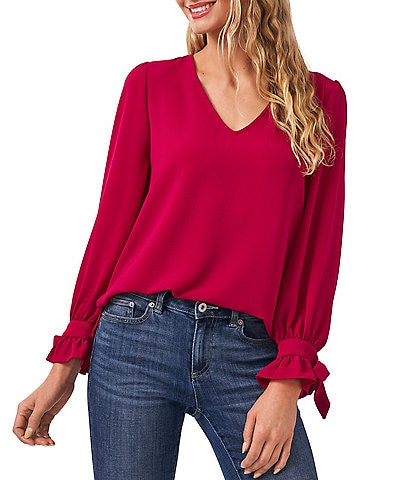 CeCe V-Neck Long Sleeve Bow Detail Ruffled Cuff Blouse