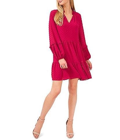 CeCe V-Neck Long Sleeve Clip Dot Tiered Babydoll Dress