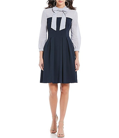 CeCe Yarn Die Mixed Media Tie Neck Dress