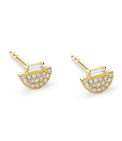 Celara 14K Gold & Diamond Baguette Stud Earrings