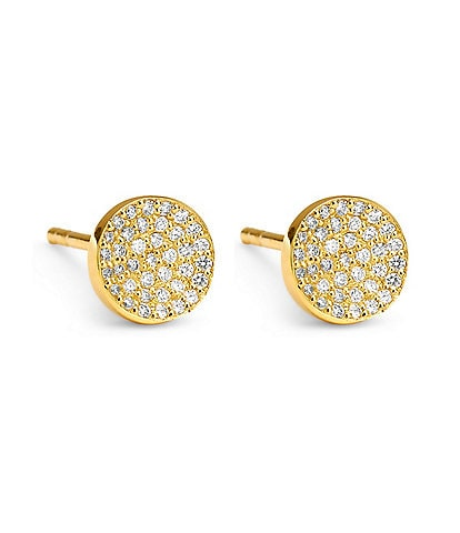 Celara 14K Gold & Diamond Pave Round Stud Earrings