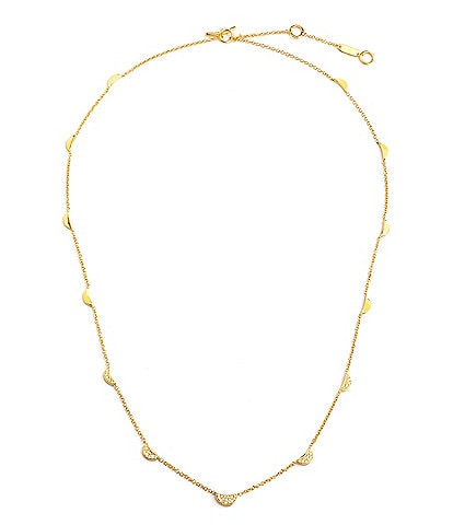 Celara 14K Gold & Diamond Pave Station Necklace