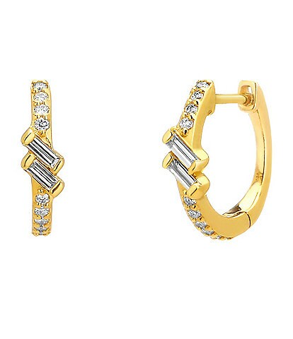 Celara 14K Gold & Diamond Phase Huggie Hoop Earrings
