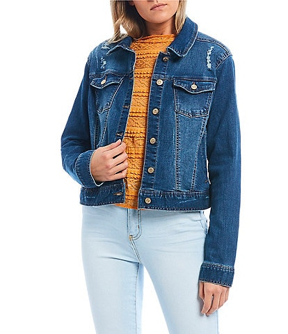 Celebrity Pink Basic Button Front Denim Jacket
