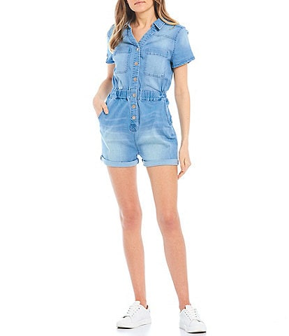 Celebrity Pink Button Front Denim Utility Romper