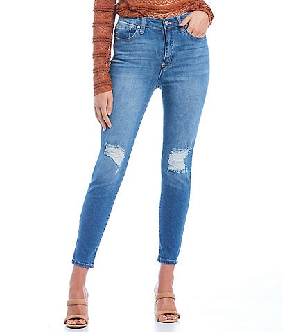 Celebrity Pink Destructed High Rise Repreve Sustainable Skinny Jeans