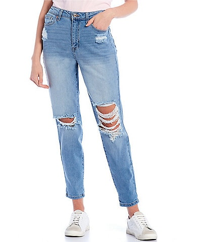 Celebrity Pink High Rise Destructed Mom Jeans