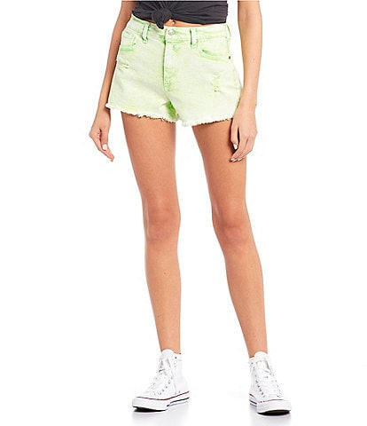 Celebrity Pink Foam Wash High Rise Frayed Hem Shorts