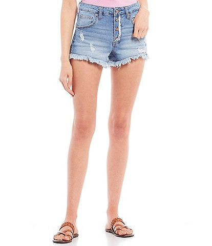 Celebrity Pink Mid Rise Button Front Distressed Frayed Hem Shorts