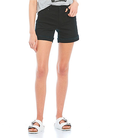 Celebrity Pink Mid-Rise 5#double; Inseam Frayed Flip Cuff Shorts