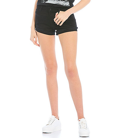 Celebrity Pink Mid-Rise Frayed Flip Cuff Shorts