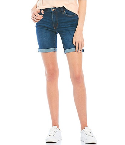 Celebrity Pink Mid-Rise Rolled Cuff Bermuda Shorts