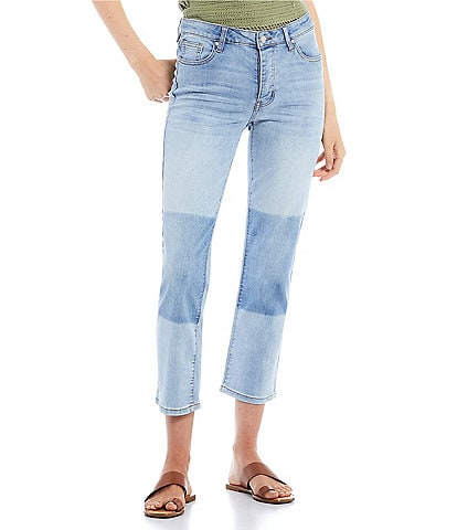 Celebrity Pink Shadow Knee Mid Rise Straight Jeans