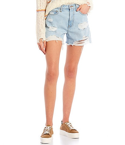 Celebrity Pink Ultra High-Rise Frayed Hem Boyfriend Shorts