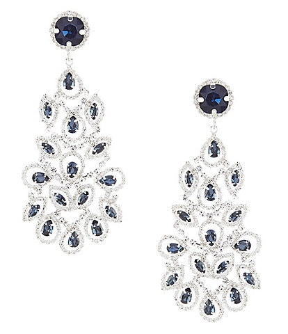 Cezanne Blue Duchess Chandelier Statement Earrings