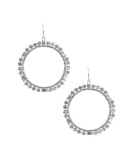 Cezanne Crystal Baguette Circle Earrings