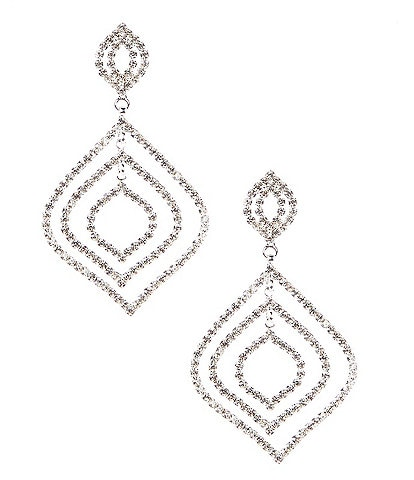 Cezanne Crystal Feather Drop Earrings