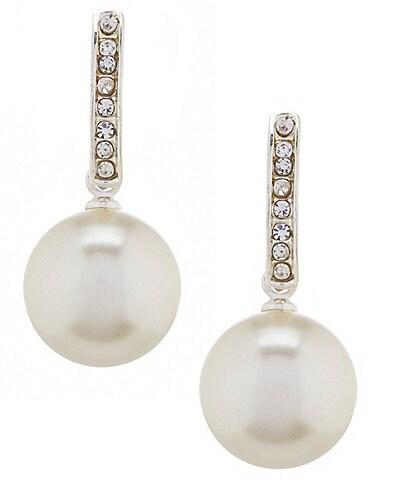 Cezanne Faux-Pearl Drop Rhinestone Half Hoop Earrings